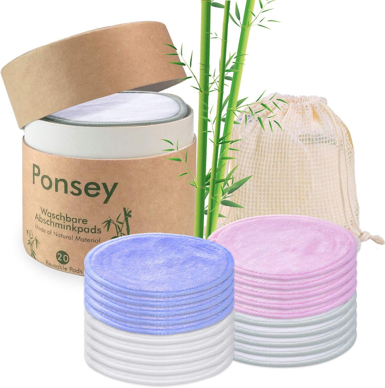 Coton demaquillant lavable - 20 Pcs Tampons réutilisables en coton et bambou avec sac à linge et boîte de rangement. Lingette demaquillante lavable et écologiques pour le nettoyage du visage