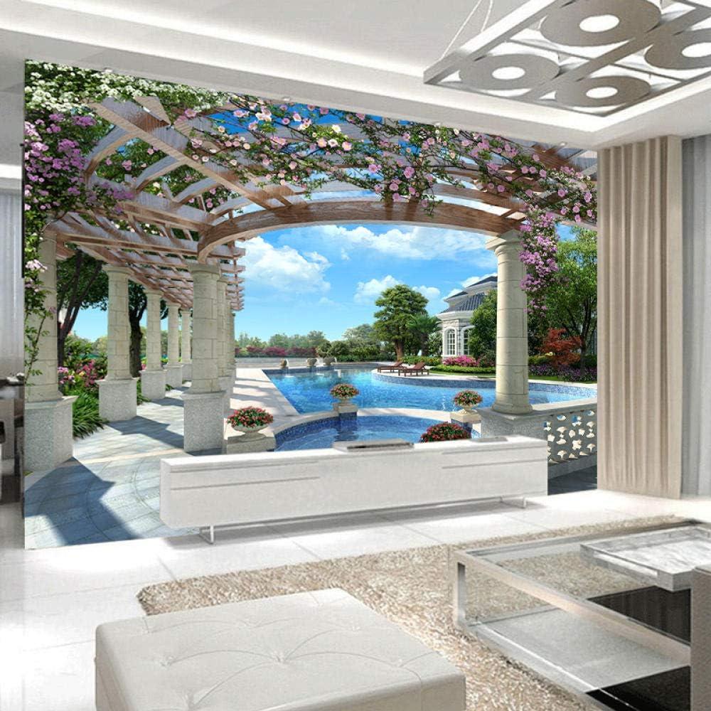 Papel pintado Foto 3D personalizada para sala de estar Patio trasero de lujo Piscina familiar Moderador de decoración grande 250x175cm: Amazon.es: Bricolaje y herramientas