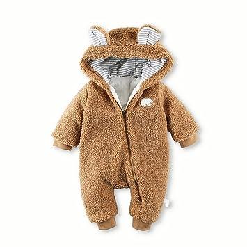 b568352a1 Amazon.com   Baby Boy Girl Cute Thick Warm Sherpa Hooded Romper ...