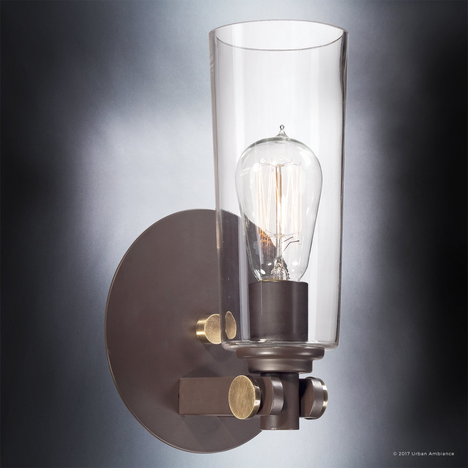 Luxury Vintage Indoor Wall Light, Small Size: 11''H x 6.5''W, with Casual Style Elements, Retro Design, Elegant Estate Bronze Finish and Clear Glass, Includes Edison Bulb, UQL2690 by Urban Ambiance by Urban Ambiance (Image #3)