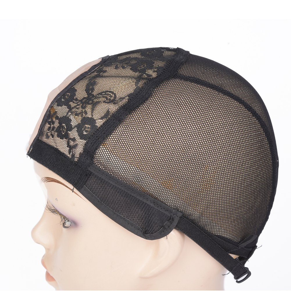 M AliMomo 2 pcs Middle U Part Wig Caps with Adjustable Strap for Making Wigs Free Size Black Dome Mesh Wig Cap for Women (U Part Wig Caps) by M AliMomo (Image #3)