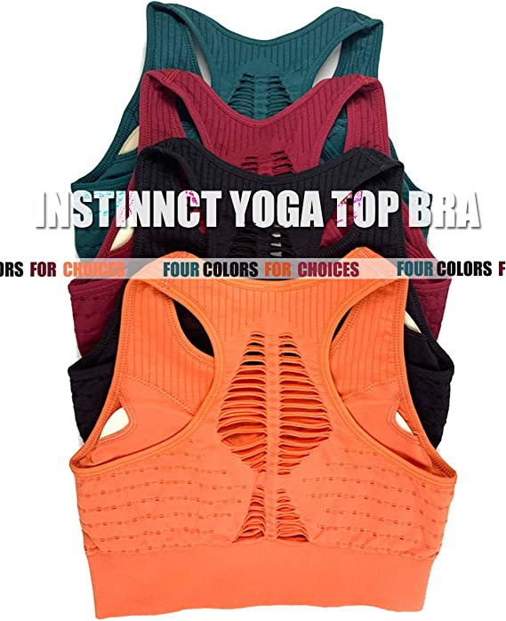 INSTINNCT Women Seamless Yoga Sport Bra Fitness Breathable Hollow Racerback Running Crop Tops