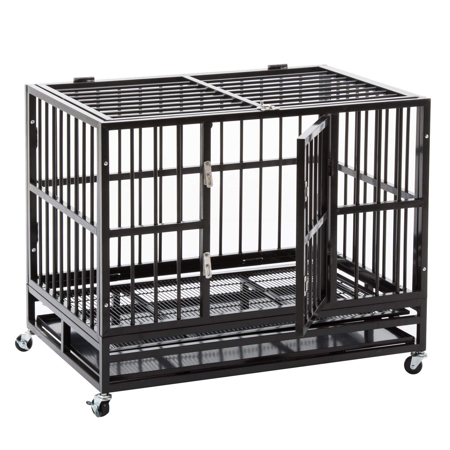 Heavy Duty 36/42/48 inch Dog Crate Strong Folding Metal Pet Kennel Playpen with Three Prevent Escape Lock, Large Dogs Cage with Four Wheels, Black Silver