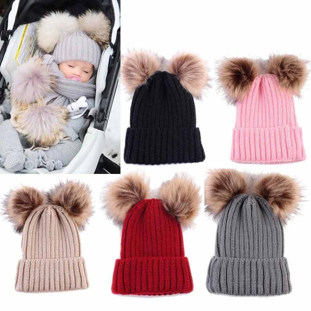 Minshao Baby Hat, 1PC Toddler Newborn Cute Winter Kids Baby Girl Boy Fur Pom Pom Hats Knitted Hemming Cap Beanie Hat (Beige)