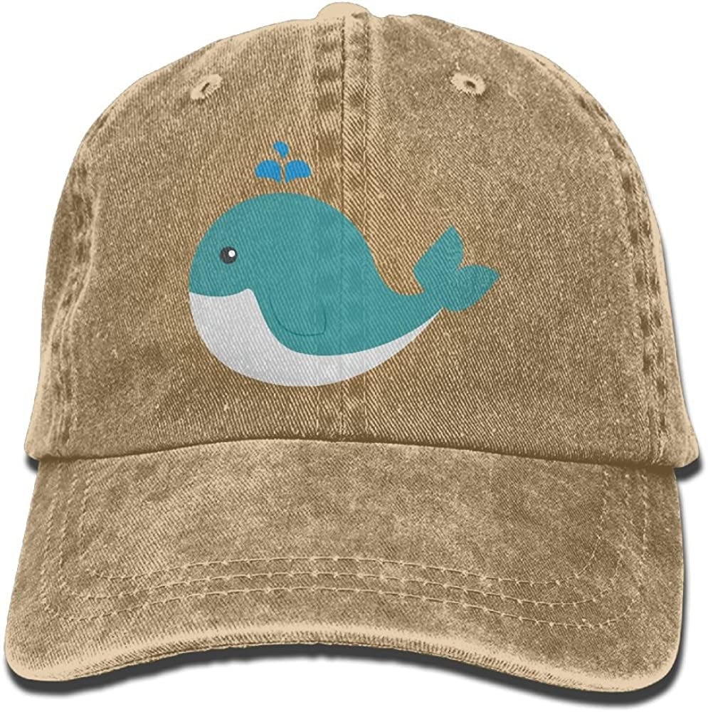 Denim Baseball Cap Cute Whale Animal Logo Summer Hat Adjustable Cotton Sport Caps