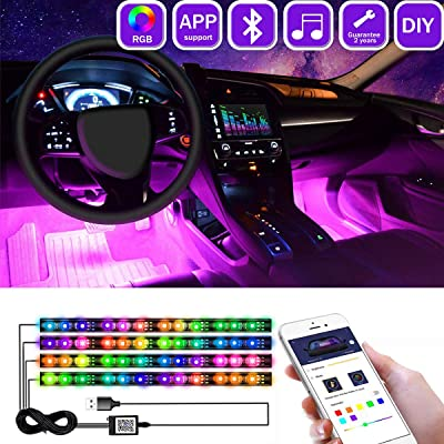 CHGZCoding Interior Car Lights Multicolor Music Car LED Strip Light, Waterproof Underdash Lighting Kits with Sound Active and App Controlled Car led lights interior with USB Port, 4pcs 48 LED, DC 12V: Automotive