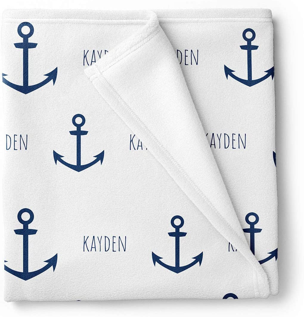 Baby Boy Gift Set Navy and White Checked Anchors Nautical Baby Boy Blanket Personalized With Name Receiving Blanket