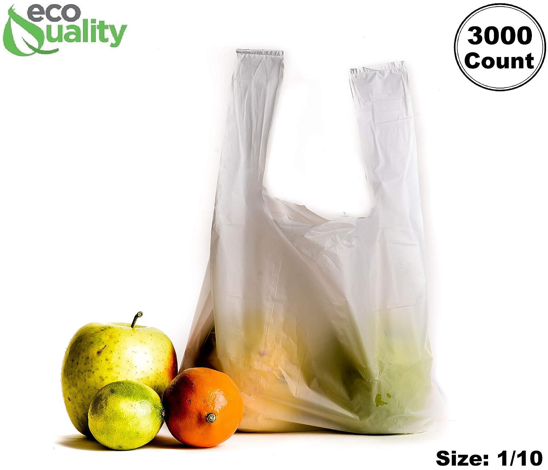 EcoQuality - Bolsas de plástico para camiseta, 3000 unidades ...