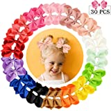 """30pcs Hair Bows for Girls 3""""Grosgrain Ribbon Boutique Bow Alligator Clips Hair Barrettes Accessories for Little Girls…"""