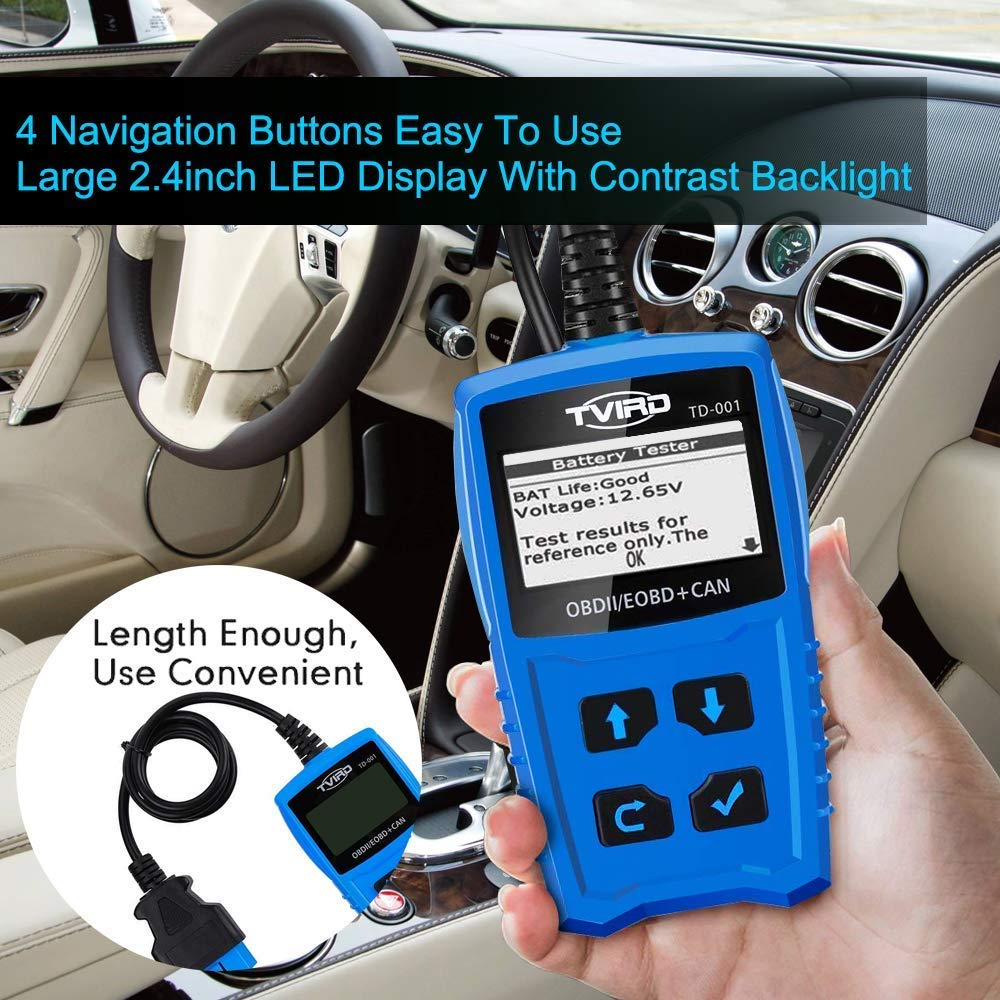 Tvird OBD 2 Scanner Universal Car Engine Fault Code Reader Classic Enhanced Diagnostic Scan Tool - Black and Blue by Tvird (Image #7)