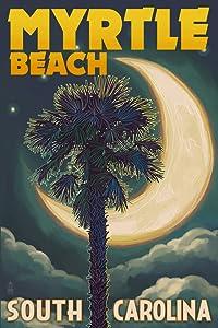 Myrtle Beach, South Carolina - Palmetto Moon and Palm (9x12 Art Print, Wall Decor Travel Poster)