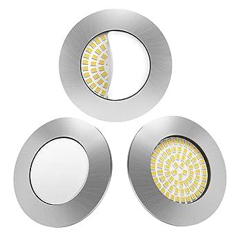 LED Einbaustrahler 3er Set von Scandinavian home | LED Spot  Deckeneinbauleuchte ultra flach Badezimmer geeignet | 5W 500lm 3000K  warmweiß 60-68mm 220 ...