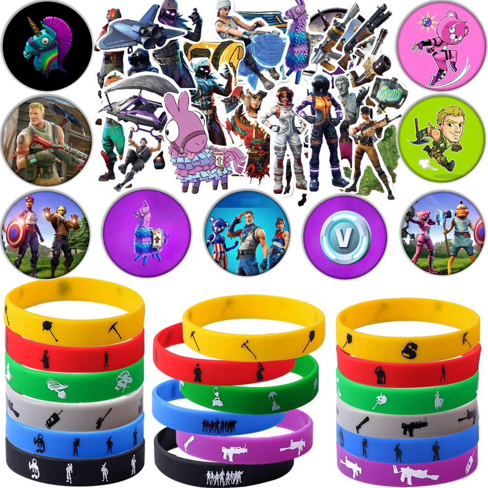 Game Party Supplies, 76 Pack Gaming Gift Set Party Favors - Include 24Pack Game Bracelet, 12 Pack Badge, Set of 40 Stickers for Kids
