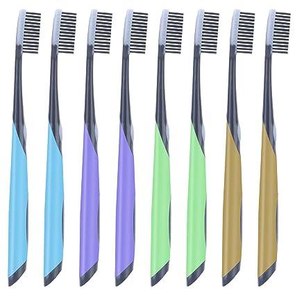 Vicsou - Juego de 8 cepillos de dientes manuales para adultos, color negro carbón con
