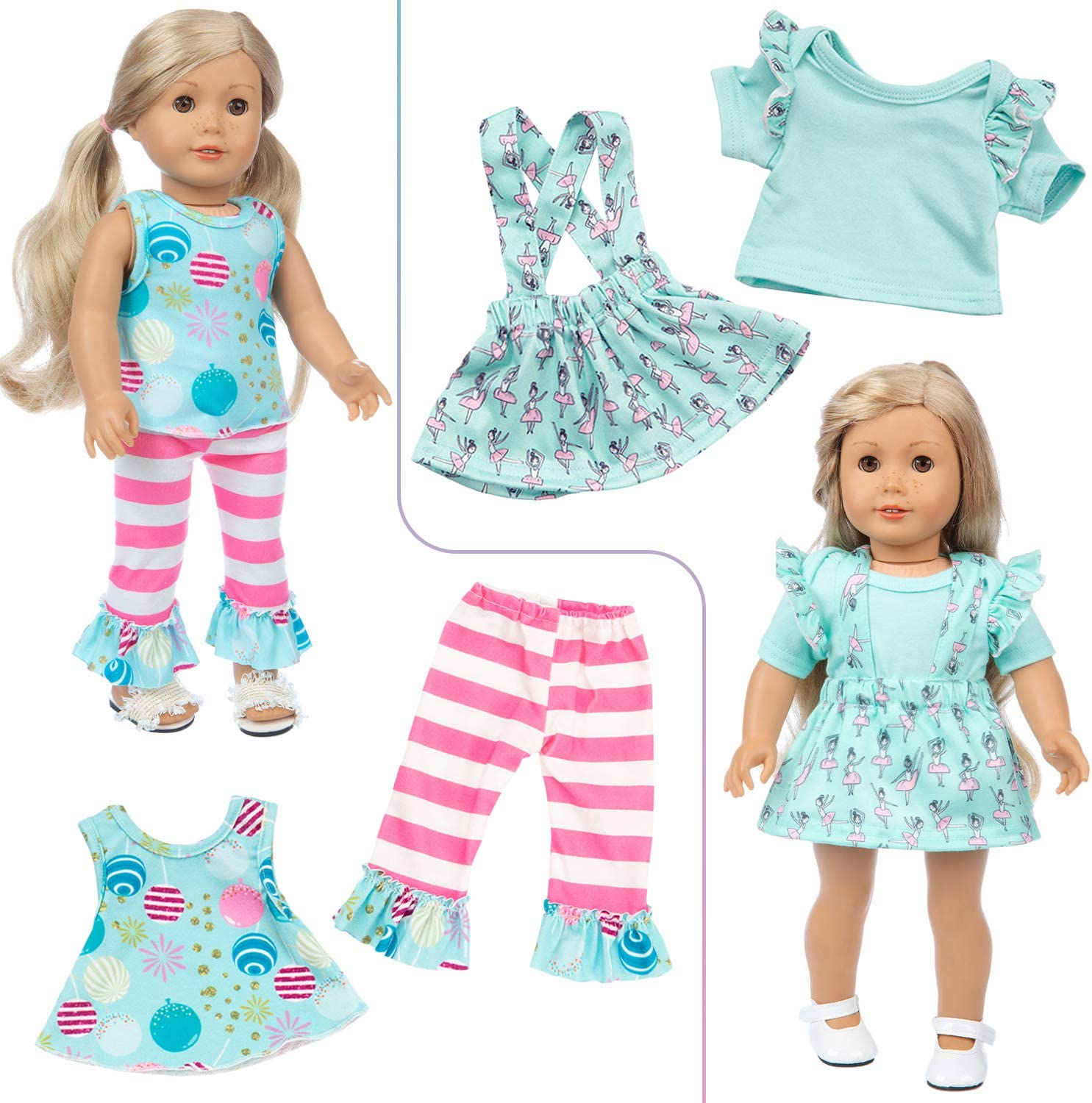Ecore Fun 10 Sets 18 Inch Doll Clothes Outfits Pajamas Dresses Hair Clips and 2 Pairs of Shoes 1 Handbag for American 18 Inch Girl Doll Clothes and Accessories