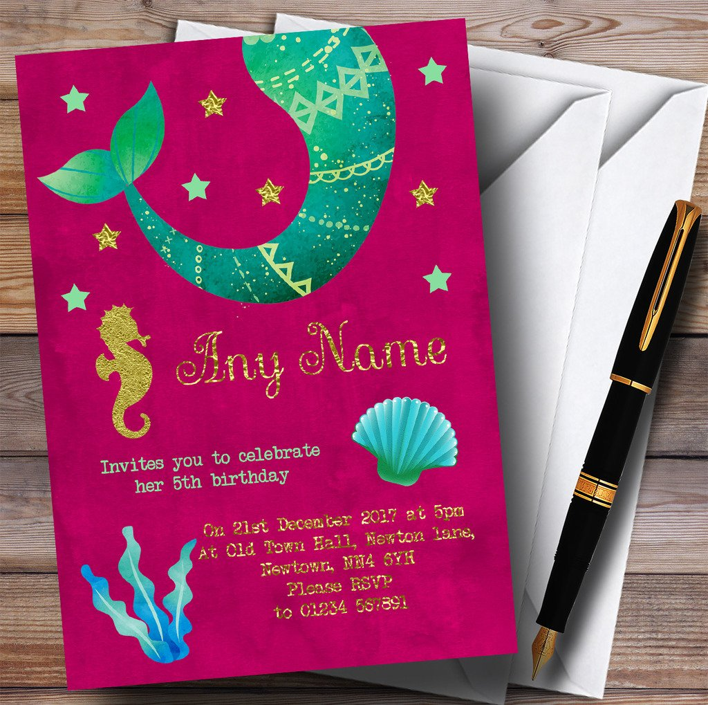 Gold & Pink Mermaid Childrens Birthday Party Invitations