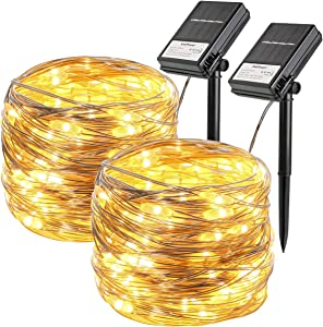 2 Pack Solar String Lights, 33ft 100 Led Solar and Battery Powered String Lights Outdoor Waterproof Fairy Light 8 Modes Silver Copper Wire Light for Gardens,Yard,Party, Christmas(Warm White)