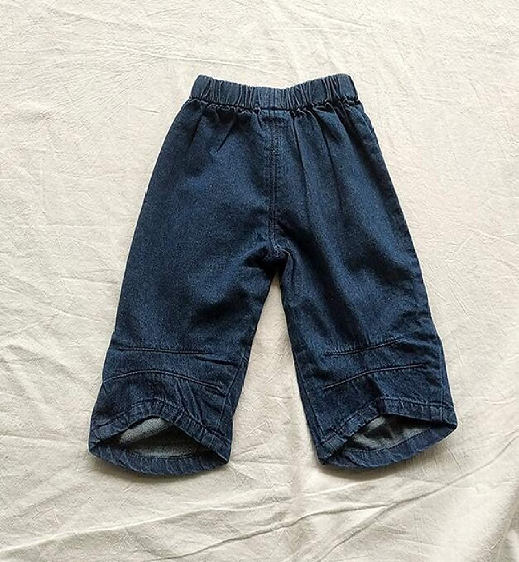 Macondoo Boys Trousers All-Match Embroidery Girl Denim Jeans Pants