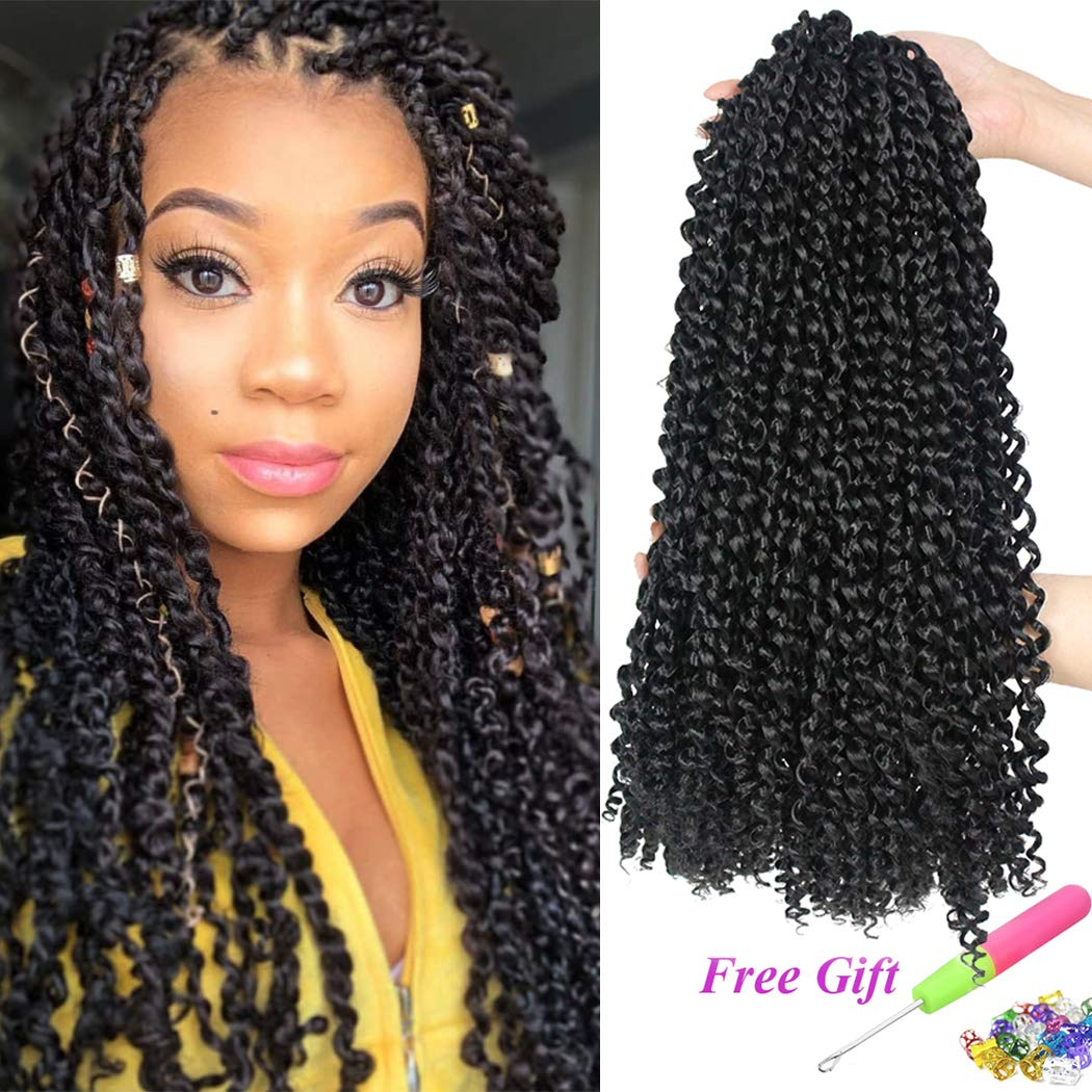7 Packs Passion Twist Hair 18 Inch Water Wave Synthetic Braids for Passion Twist Crochet Braiding Hair Goddess Locs Long Bohemian Locs Hair (22Strands/Pack, 1B#) by Dorsanee