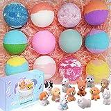 Bath Bombs for Kids with Toys Inside Kids Bath Bombs Organic Bubble Bath Fizzies Bomb 3.5 oz/per 12 Pcs Set Birthday…