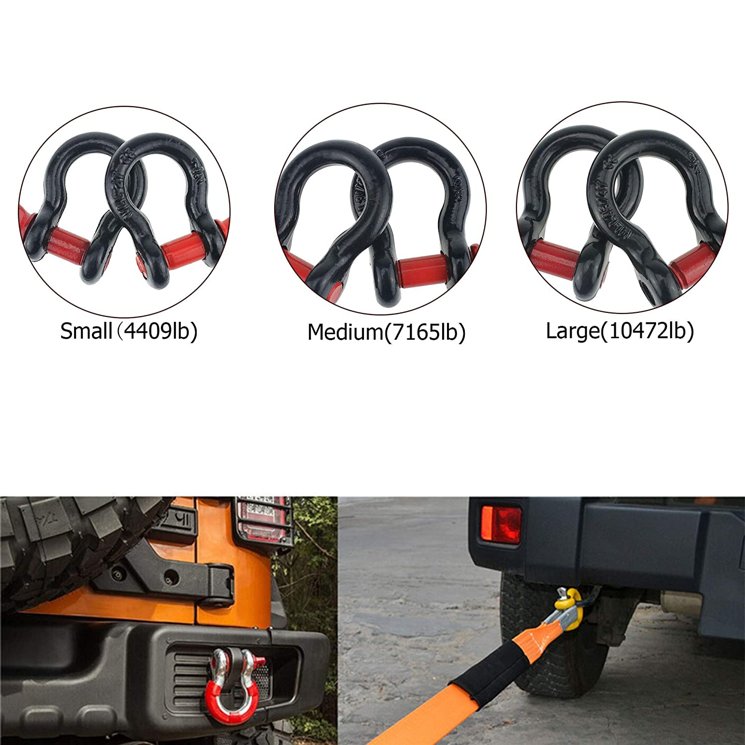 Breaking Strength for Vehicle Recovery,Tow Strap Hooks Anti-Rust 5//8 D Ring Bow Shackle Isolator 2 Pk Unbreakable 19.5 Tons 42,990 lbs