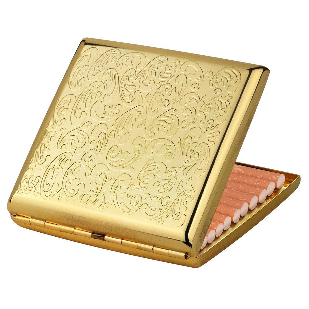 Metal Cigarette Case/Box Embossed for Smoker Holder Antique Cigarette Case for Sale Gold Cigarette Holder Box(Gold)