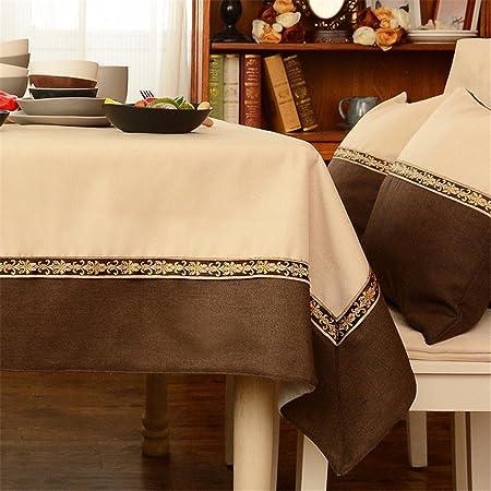 145 * 220 cm Beige marrón Patchwork juego de mesa de tela de lino ...