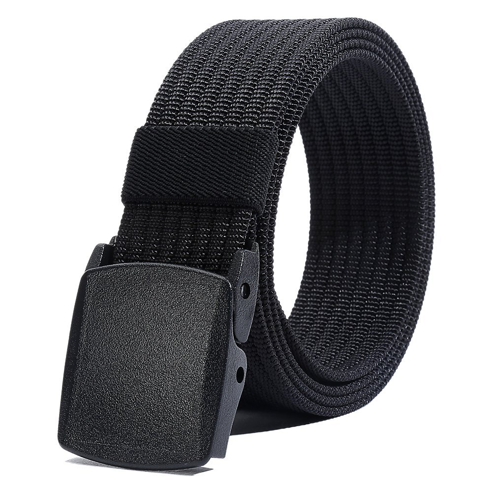 Nylon Belt Men, Military Tactical Belt with YKK Plastic Buckle, Durable Breathable Waist Belt for Work Outdoor Sports,Adjustable for Pants Size Below 46inches[53''Long1.5''Wide] (Black)