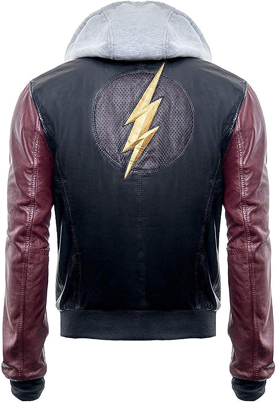 Superhero Flash Hoodie Black Real Leather Mens Jacket