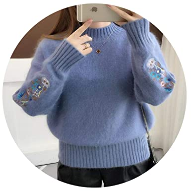 63e1d5f185 Image Unavailable. Image not available for. Color  LIJYYJ 2018 Winter Thick  Warm Beautiful Embroidery Turtleneck Sweater Women Long Sleeve Knit ...