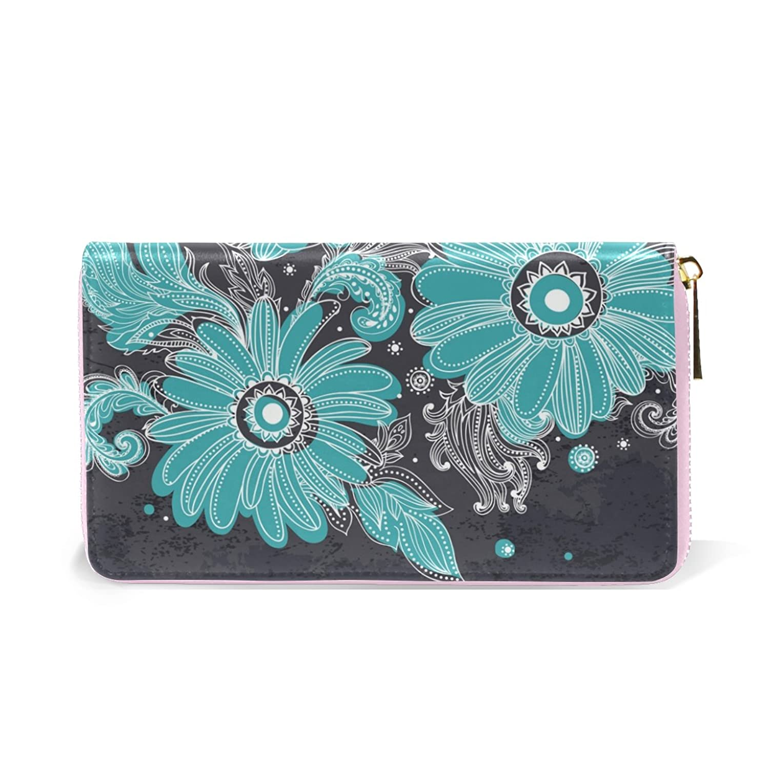 Flower Art Genuine Leather Girl Zipper Wallets Clutch Coin Phone for Women