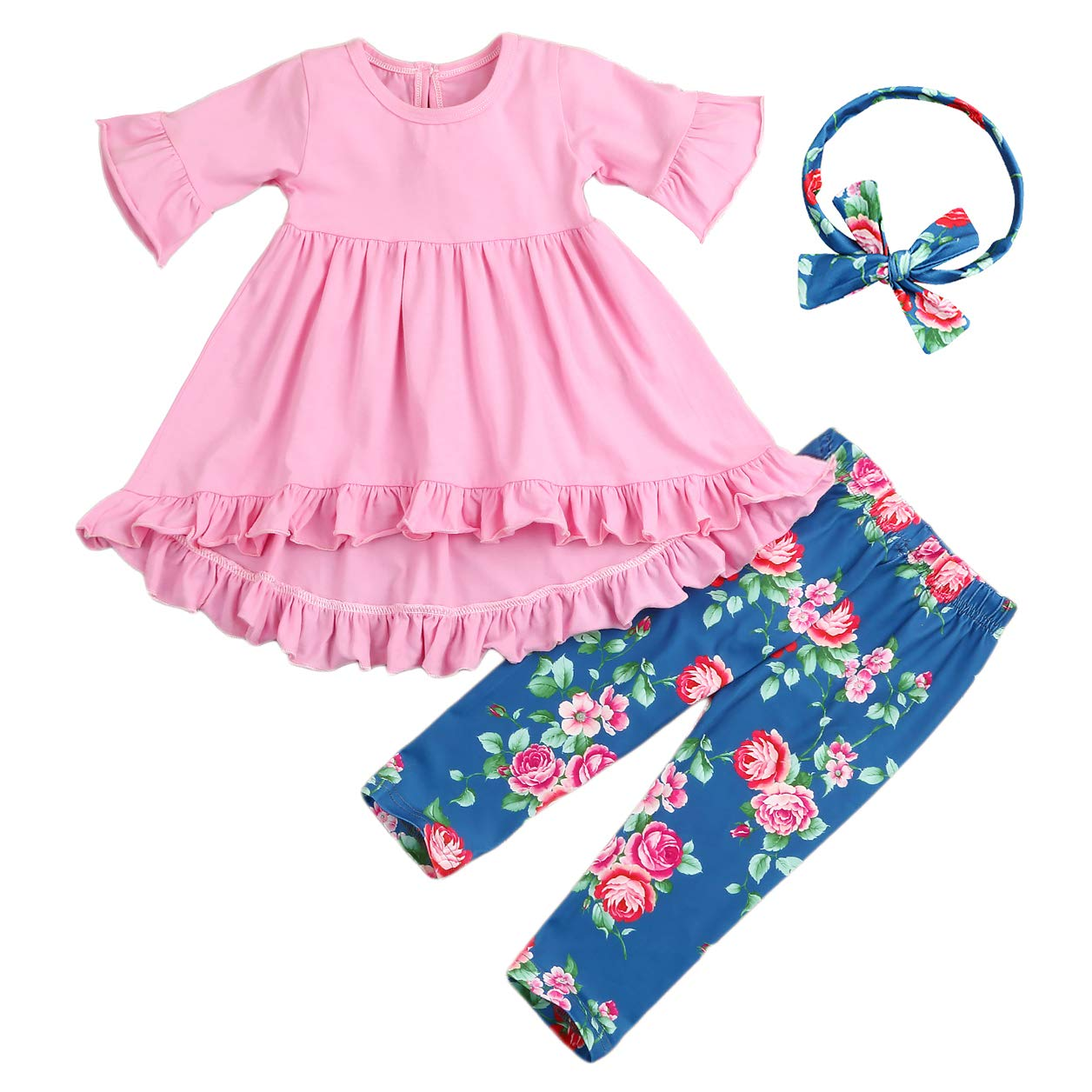 3Pcs Outfits Little Girl Pink Long Sleeve Ruffle Dress T-Shirt Floral Pants Headband/Scarf Sets