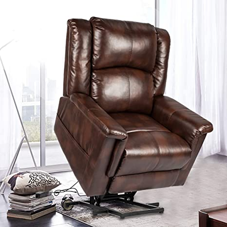 Swell Baochen Power Lift Recliner Chair Pu Leather Recliner Massage Chair Electric Heated Chair For Elderly With Multi Function Control Brown Ncnpc Chair Design For Home Ncnpcorg