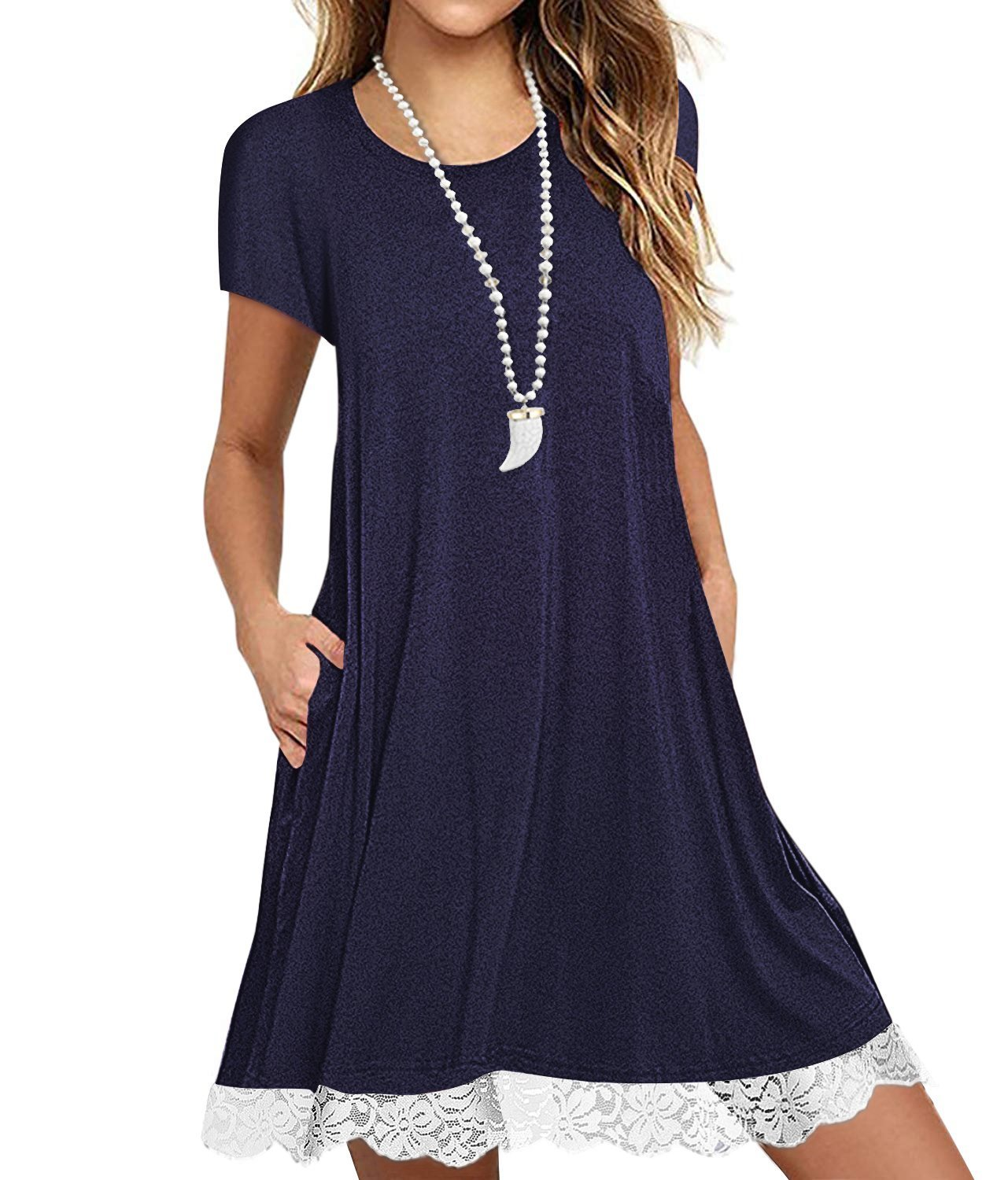Eanklosco Womens Casual Short Sleeve Plain Pocket V Neck T Shirt Tunic Dress (NavyBlue-2, M)
