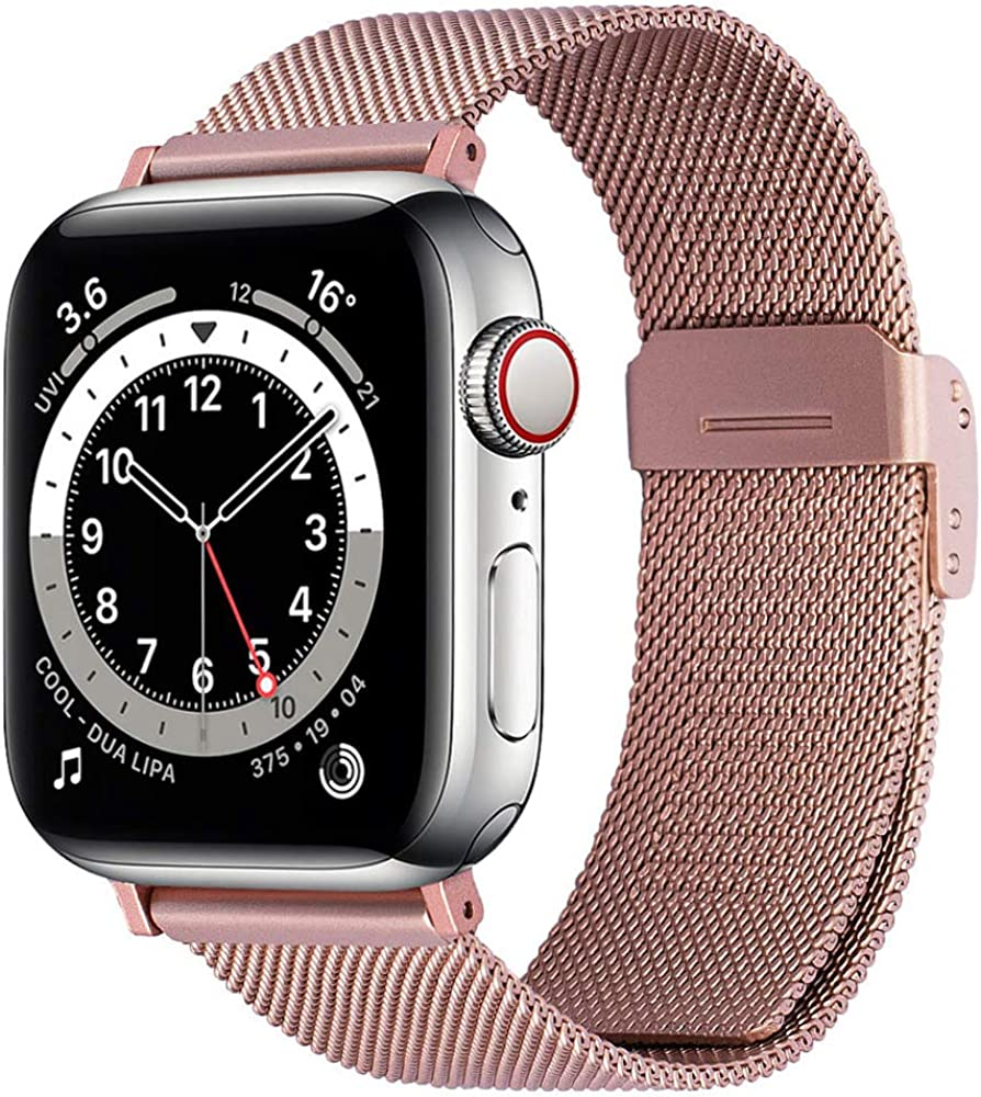 EAVAE Compatible with iWatch 38mm 40mm 42mm 44mm, Stainless Steel Metal Mesh Replacement Band for Apple Watch Series 6 5 4 3 2 1 SE Women Men