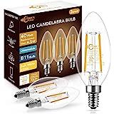 DORESshop Dimmable E12 Candelabra LED Bulbs 40 Watt Equivalent, 2700K Warm White, 4W Clear Filament LED Chandelier Light Bulb