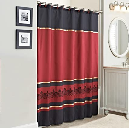 Embroidered Scroll Red Fabric Shower Curtain