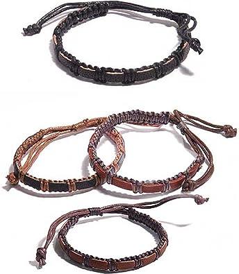 ¤ BRACELET cuir et bijou sur noeud coulissant MIXTE réglable prix MINI !!