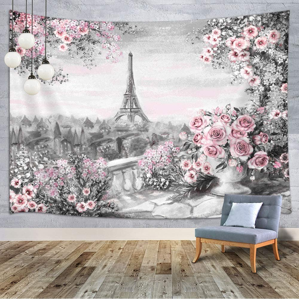 MERCHR Eiffel Tower Tapestry Gray Pink Oil Painting Paris Summer Landscape Floral Roses Leaf Home Decor Tapestry Art Wall Hanging for Bedroom Living Room Dorm, 60X40 Inches