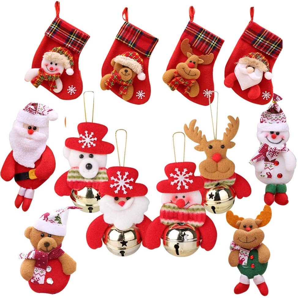 Awtlife 12 Pcs Christmas Bells Decorations Cute Santa Claus Ornaments Classics Stockings for Xmas Tree Hanging