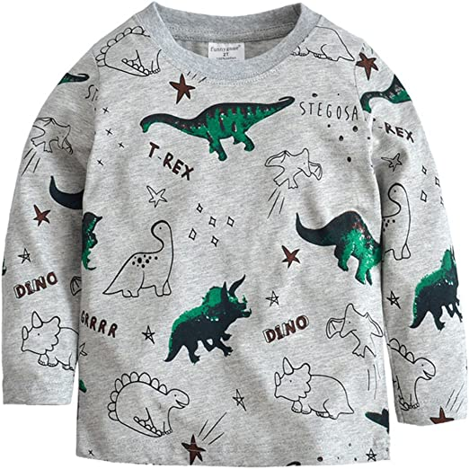 Little Boys Crewneck Sweatshirt Long Sleeve Cartoon T-Shirt Kids Clothes Cotton Pullover Dinosaur Tops