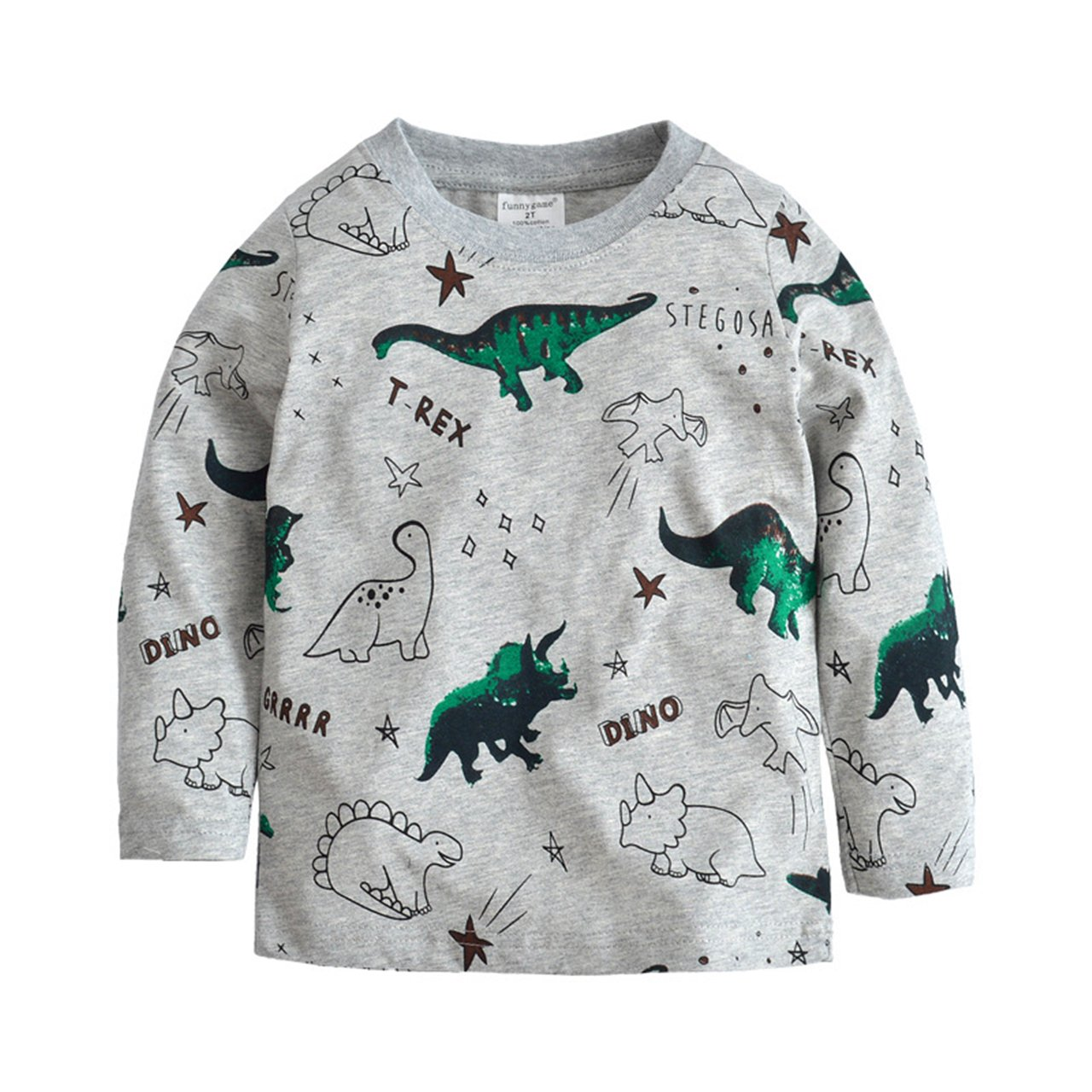 Toddler Boys' Long Sleeve T-Shirts Dinosaur Cotton Tops Tee Kids Size 2 3 4 5 6 7 T