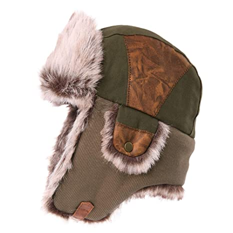 Mens Womens Patchwork Faux Fur Hunting Mad Bomber Trapper Flaps Winter Cap  Ushanka Russian Hat Army 059fc1a528d0
