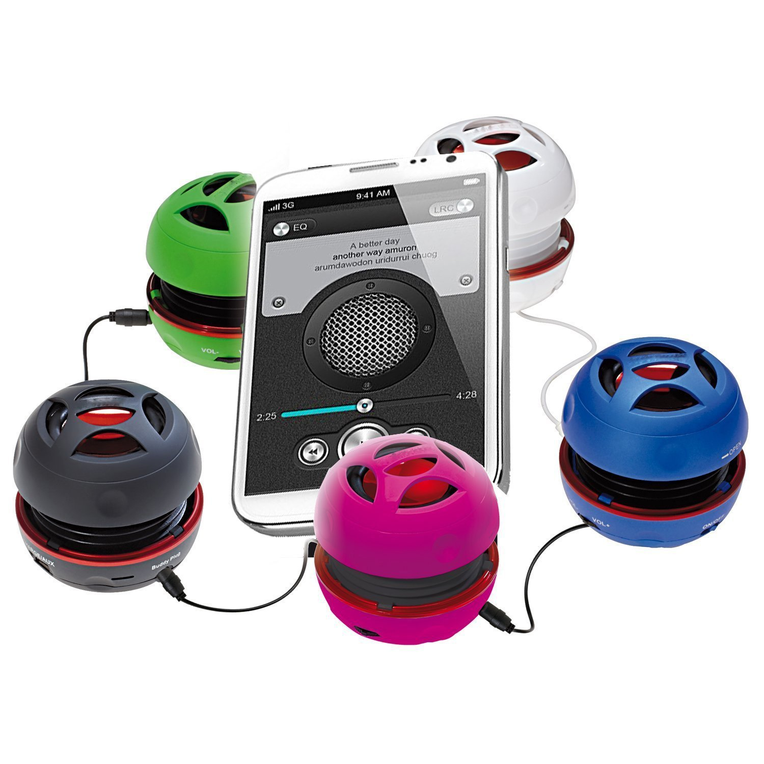 I-VOM Bass+ Mini Portable Speaker with 2YR Guarantee with Rechargeable Battery for iPhone7 / iPad/iPod / MP3 Player/Laptop/iPhone/Computer - (Black,Red) by RIITY