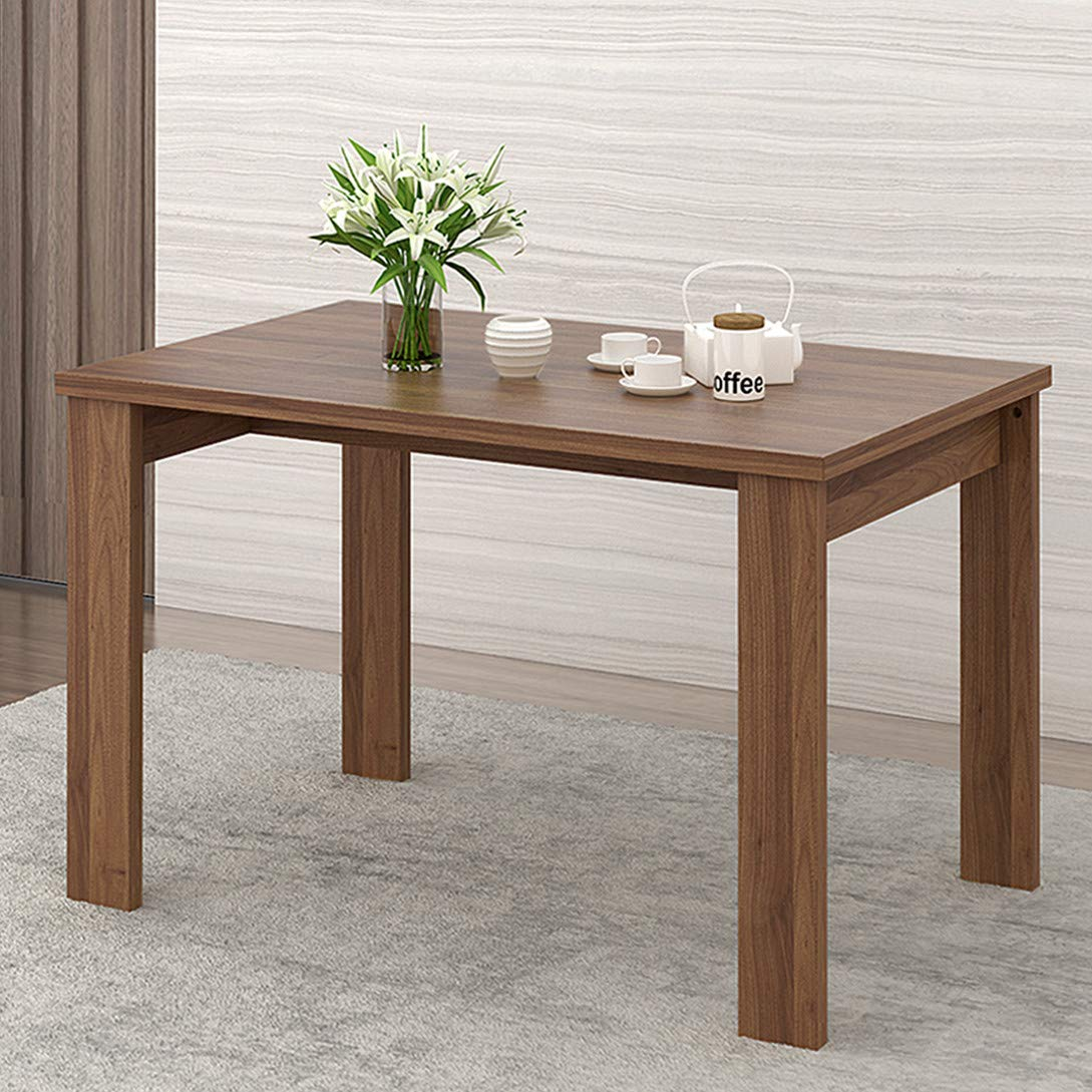 WLIVE Wood Dining Table in Block Style Legs, Kitchen Dining Room Furniture/Dark Oak Finish ...