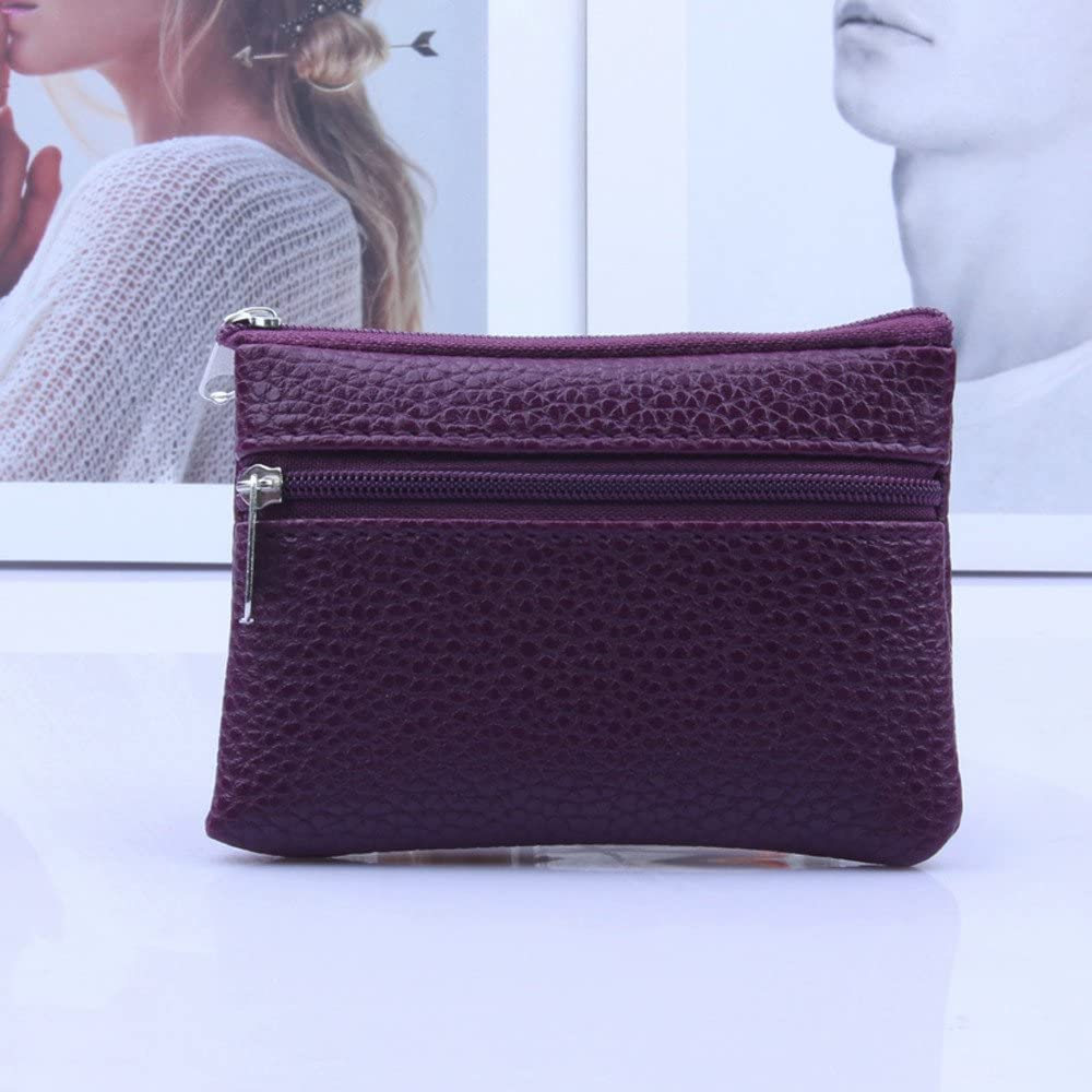 Unisex Leather Multi Functional Double Zipper Coin Purse Card Wallet Light Purple
