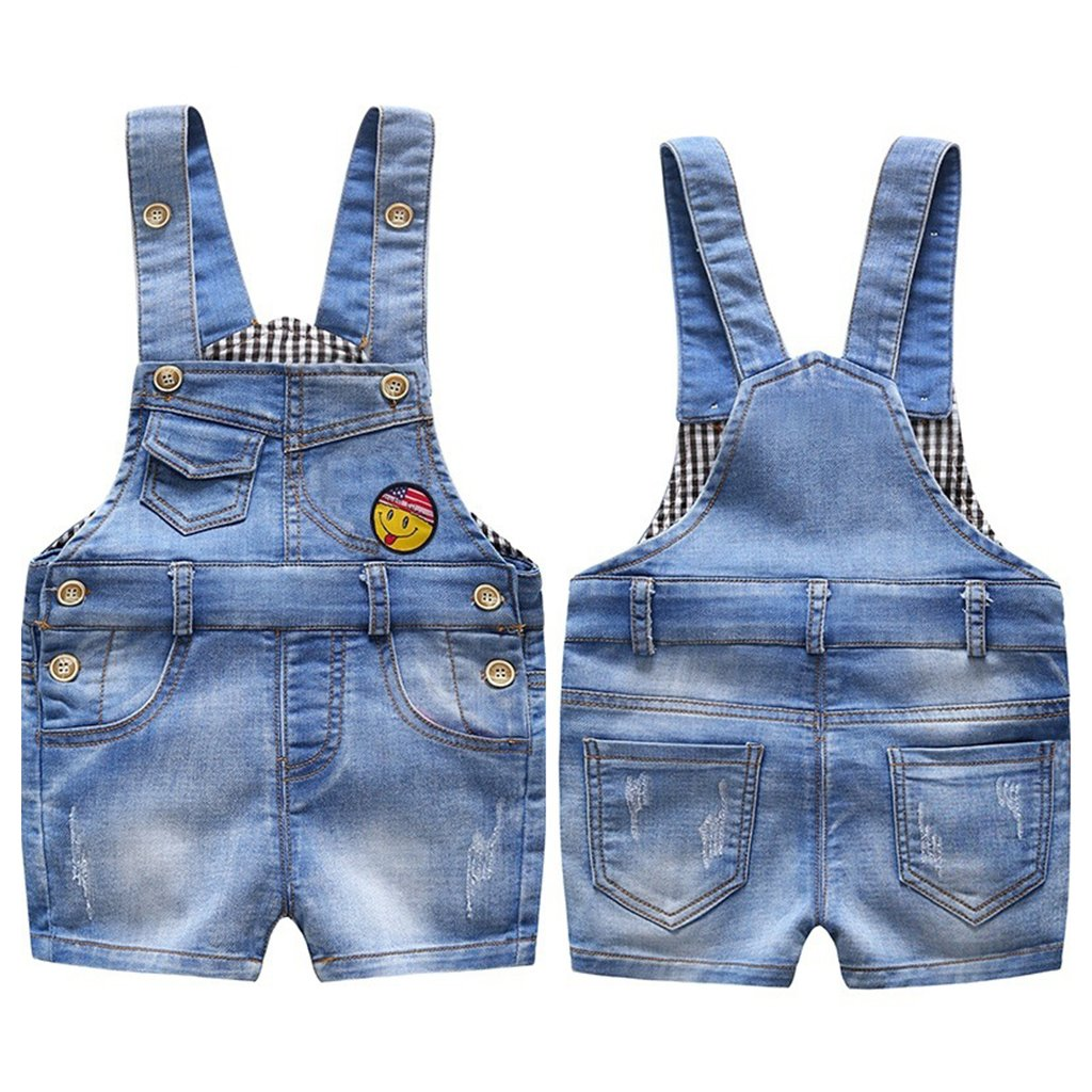 Bambino Salopette Corta Jeans Denim Pantaloncini Blu Tuta Ragazze Ragazzi Denim Pantaloni 9-12 Mesi