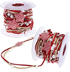 2 Rolls Christmas Tree Decoration Ribbon, 16.4 FT Pentagram Bead Chain Ribbon Christmas Tree Trim Rope for Home Decorations, DIY Craft, Gift Wrapping and Party Wedding