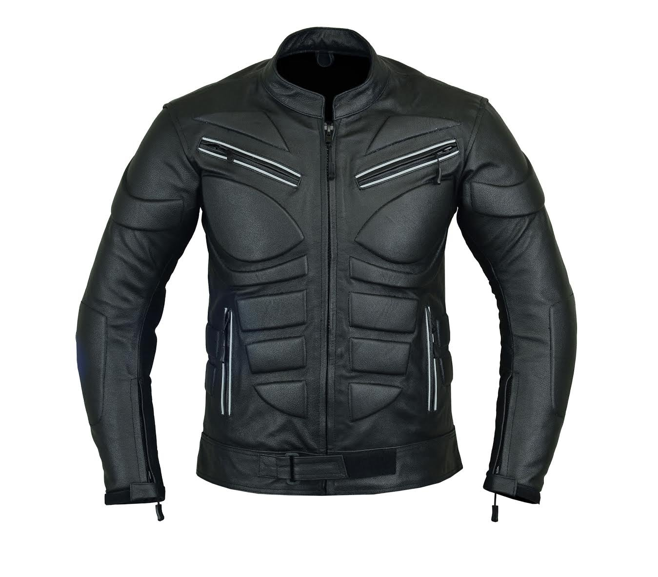 MENS MOTORCYCLE ARMOURED MOTOR SPORTS HIGH PROTECTION LEATHER JACKET BLACK AND RED LJ-1704 S