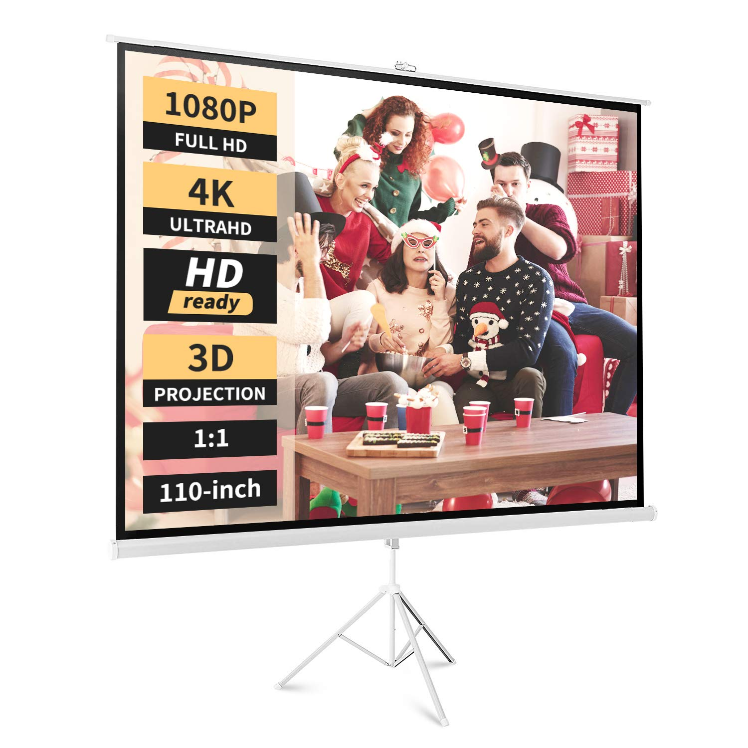 Neewer Portable Projector Screen Tripod Stand - Mobile Projection Screen, Lightweight Carry and Durable Easy Pull Assemble System for Schools Meeting Conference Indoor Outdoor Use, 110 Inch